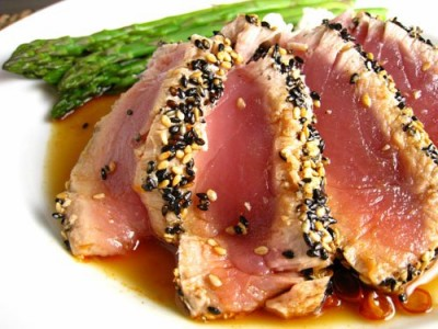 Sesame Crusted Ahi Tuna with Orange Teriyaki Sauce